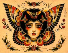 thievinggenius: Done by Becca Gene Bacon. Traditional Tattoo Old School, Traditional Tattoo Flash, Body Art Tattoos, Girl Tattoos, Tatoos, Asian Dragon Tattoo, Vintage Horror, American Traditional, Pretty Tattoos