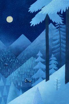 by Chuck Groenink Winter landscape night illustration Art And Illustration, Mountain Illustration, Winter Art, Winter Night, Winter Cabin, Arte Floral, Winter Scenes, Land Scape, Folk Art