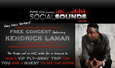VEVO and HTC One present #SocialSounds - get into a FREE concert featuring Kendrick Lamar