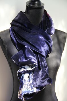 Silk velvet & satin scarf with faux pearls beads. See more on www.etsy.com/shop/SlinkySilk