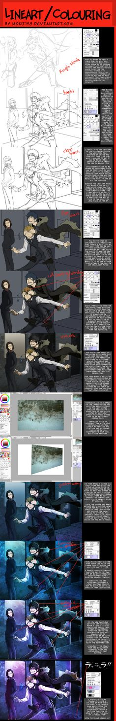 Lineart and colouring tutorial by moni158.deviantart.com on @deviantART ✤ || CHARACTER DESIGN REFERENCES | キャラクターデザイン | çizgi film • Find more at https://www.facebook.com/CharacterDesignReferences & http://www.pinterest.com/characterdesigh if you're looking for: #line #art #lineart #animation #how #to #draw #drawing #tutorial #lesson #balance #sketch #inking #anatomy #line #art #comics #tips #cartoon || ✤