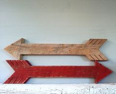 Big Rustic Wood Arrow made with Salvaged Barn Wood - Your Choice Red or Unfinished on Etsy, $50.00