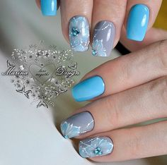 Gray and Blue Studded Summer Nails. Flowers and studs and colors, draw the perfect nail art design for your summer vacation fun.
