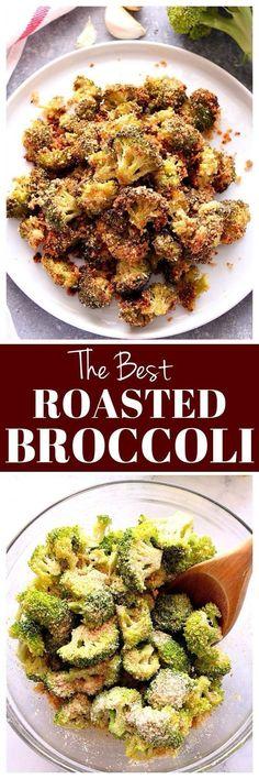 Garlic Parmesan Roasted Broccoli Recipe – the best broccoli ever! Perfectly roas… Garlic Parmesan Roasted Broccoli Recipe – the best broccoli ever! Perfectly roasted broccoli with crunchy garlic Parmesan coating. Roasted Broccoli Recipe, Broccoli Recipes, Vegetable Recipes, Vegetarian Recipes, Cooking Recipes, Healthy Recipes, Parmesan Recipes, Recipe For Broccoli And Cauliflower, Gastronomia