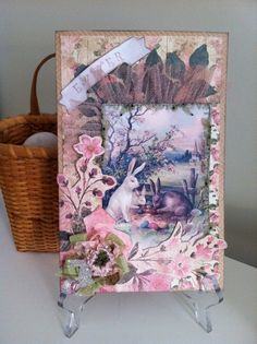 Easter Card Victorian Style Keepsake Easter Rabbit by ParisPluie