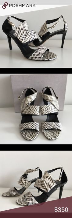 "JIMMY CHOO TRAPEZE BLACK/WHITE LEATHER SANDALS JIMMY CHOO TRAPEZE BLACK/WHITE LEATHER SANDALS, SIZE 41, STILETTO HEEL 3.75"", OPEN TOE, A STRAPPY DESIGN, A BRUSH STROKE PRINT, AN ANKLE STRAP WITH A SIDE BUCKLE FASTENING, MADE IN ITALY, BRAND NEW WITH BOX AND DUST BAG Jimmy Choo Shoes Sandals"
