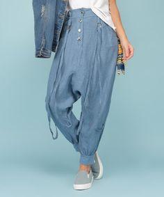 Look at this #zulilyfind! Blue Button Linen Harem Pants - Women & Plus #zulilyfinds