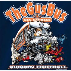Auburn Tigers Football T Shirts The Gus Bus Sec Express Color Navy | eBay