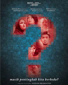 A poster composed of a collage of photographs of faces, several of which form a red question mark on a blue background