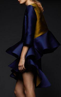 Navy Curzon Skirt by Preen by Thornton Bregazzi for Preorder on Moda Operandi