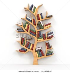 Tree of knowledge. Bookshelf on white background. 3d by Maxx-Studio, via Shutterstock