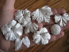 Fine Silver leaves (Precious Metal Clay) fresh from the kiln