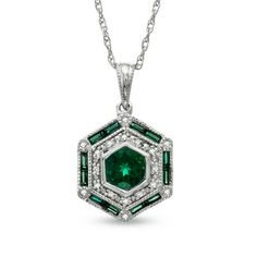 Lab-Created Emerald and Diamond Accent Octagonal Pendant in Sterling Silver