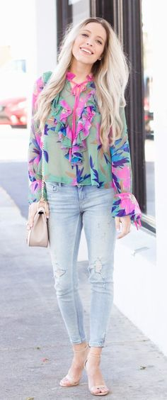 #spring #outfits #RestockAlert! My Favorite New Floral Blouse Sold Out Too Fast For Me To Share Last Time, But Good News - It's Been Restocked In Just A Few Sizes! // Green Floral Blouse + Bleached Ripped Jeans + Nude Sandals