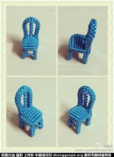 sillita en #macrame-I love tiny chairs! I would wear this on a fine chain!