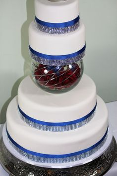Blue Bedazzled Beauty Impostuer Wedding Cake!