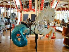 National Carousel Association - Great Northern Carousel - Neptune and his sea horse. Carosel Horse, Fair Rides, Sea Isle City, Painted Pony, Merry Go Round, Pet Rocks, Sea Monsters, White Aesthetic, Fantasy