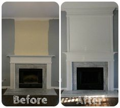 [d]We used molding to extend our standard fireplace to the ceiling. Before, it was simple and standard. We just used a few pieces of molding and wood as well as…