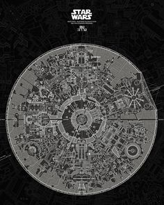 French graphic designer Carlos Pardo presents the ultimate @starwars fans wall art; the blueprints to the Death Star II. The posters reportedly took two years and over 400 hours of labor to create. For more details on his project drop by hypebeast.com by hypebeast