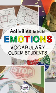 Working with older students in speech therapy and counseling can be challenging!  Here are easy, fun therapy ideas for middle school and teen students to target emotions and feelings.  There are even links to free worksheets to help students identify and express their emotions!  #emotions #socialskills #zonesofregulation<br>
