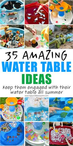 35 Amazing Water Table Ideas to keep your toddler or preschooler entertained and engaged with their water table all summer long! activities for toddlers 35 Amazing Water Table Ideas for Summer Toddler Learning Activities, Summer Activities For Kids, Infant Activities, Fun Activities, Kids Learning, Parenting Toddlers, Learning Games, Outdoor Toddler Activities, Table Activities For Toddlers