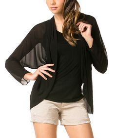 Love this Black Cocoon Open Cardigan & Tank - Women by miilla  on #zulily! #zulilyfinds