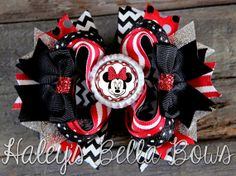 Adorable Red Black and White MINNIE MOUSE by HaleysBellaBows, $8.50
