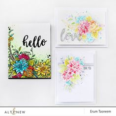 Altenew Blooming Bouquet Stamp Set. Watercoloured cards by Erum Tasneem @pr0digy0