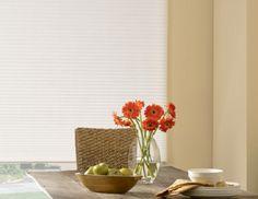 White Honeycomb Bali Blinds in a bright kitchen. Window Coverings, Window Treatments, Bali Blinds, Faux Wood Blinds, Bright Kitchens, Blinds For Windows, Honeycomb, Dining Room, Home