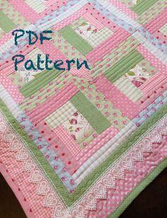Log Cabin Baby Quilt Pattern  Modern Baby Girl Quilt Pattern