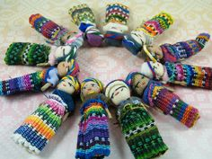 """These are cute, I have dolls similar to these from Honduras, in Belize they called them """"worry dolls"""" Doll Crafts, Sewing Crafts, Worry Dolls, My Bubbles, Man Party, Tropical Birds, Hand Puppets, Softies, Kite"""