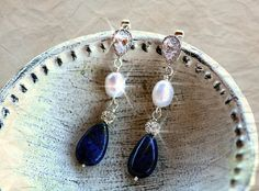 lapis lazuli and Freshwater Pearl earringsRustic by simplychic93