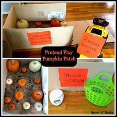 Pretend Play Pumpkin Patch equipped with a weigh station and a pumpkin hauler incorporates pretend play, size classification, weight concepts, gross motor skills and more!! -repinned by @PediaStaff – Please Visit  ht.ly/63sNt for all our pediatric therapy pins - House of Burke