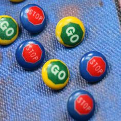 1 Set Vintage Stop and Go Plastic Buttons by CaityAshBadashery on Etsy