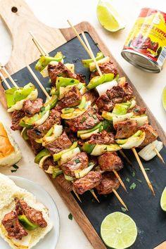 Chipotle Steak Kabobs - Miss Allie's Kitchen Steak Kabob Marinade, Steak Kabobs, Skewers, Elk Recipes, Whole Food Recipes, Kabob Recipes, Skillet Recipes, Healthy Recipes, All You Need Is