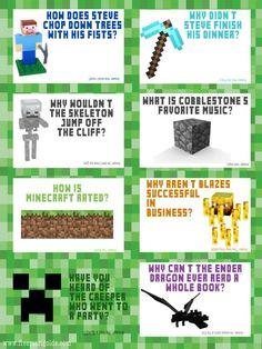 Minecraft Jokes Free Lunchbox Printables   Five Marigolds