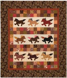 "~free pattern~ ""Giddy-Up Go"" designed by Diane Harris at Quiltmaker.  Pattern includes horse template."