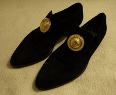 Gianni Versace vintage blask suede shoes gold by StylarniaVintage, zł1200.00