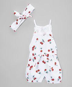 Love this White Cherries Bubble Romper & Headband - Girls on #zulily! #zulilyfinds
