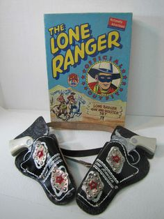 1947 Lone Ranger Toy Gun Pistols with Holsters and Belt in Original Box Set of 2   eBay