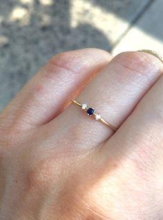Tiny Sapphire Diamond Ring 14K Three Stone Ring by LieselLove