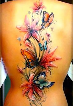 A sexy down the spine flowers and butterfly tattoo in an explosion of colors makes this unique bright tattoo graceful and classy. It represents life, .. Color: Colorful. Tags: Awesome, Great, Elegant