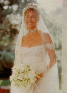 Barbra Streisand on her wedding day to James Brolin in 1998.