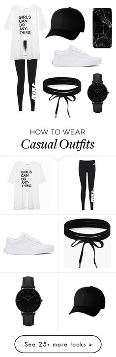 """Black and white casual"" by mers203 on Polyvore featuring NIKE, Flexfit, Vans, CLUSE and Boohoo"