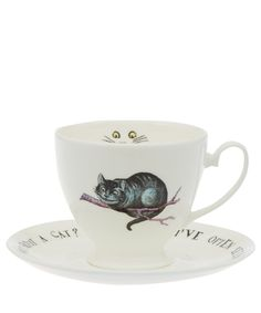 Mrs Moore White Cheshire Cat Bone China Cup and Saucer | Home | Liberty.co.uk