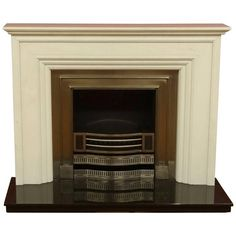 21st Century Carved Marble Fire Surround Polished Iron Insert Granite... (9,275 CAD) ❤ liked on Polyvore featuring home, home decor, black, fireplaces, marble home decor, iron home decor, contemporary home decor and marble home accessories