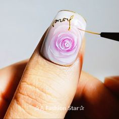 12 Beautiful Nail Art Suitable For This Season – Nail Design For Beginner - Ногти - Nageldesign Rose Nail Art, Rose Nails, Gel Nail Art, Flower Nails, Nail Art Diy, Nail Manicure, Diy Nails, Acrylic Nails, Nail Swag
