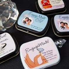 Personalized Engagement Party Mint Tins by Beau-coup ... like the idea !!