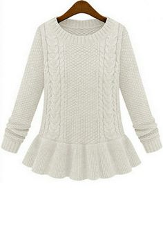 Vintage Peplum Cable Sweater on http://www.oasap.com/sweaters-cardigans/34945-vintage-peplum-cable-sweater.html