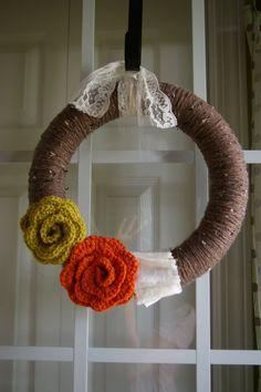 Warm autumn wreath with beautiful crocheted flowers - $25.00 at LittleLuLusNest